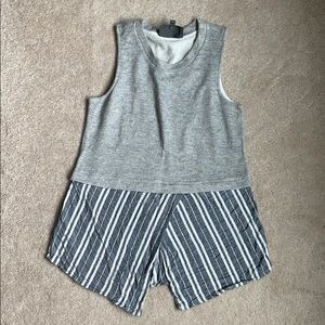Grey with Chambray Stripe Tank - Size S